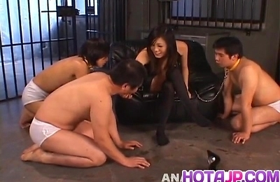 blowjob, bondage, footjob, group action, yui komine,