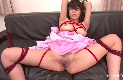 blowjobs, brunette, creampie, cumshots, facialized, glasses, group action, maid, natural tits, trimmed pussy,
