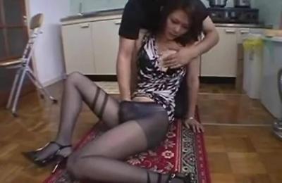 beautiful,hairy pussy,kitchen,nylon,