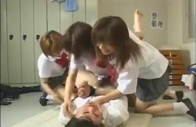 gangbang,group action,school uniform,strapon,