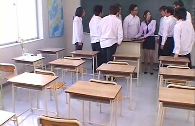 bukkake,cumshots,gangbang,orgy,students,teacher,