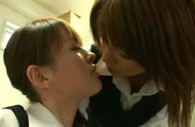 kissing,lesbians,uniform,uniforms,