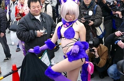amateur, cosplay, nudity, public place,