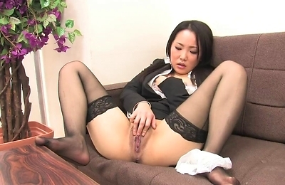 brunette,lingerie,masturbation,nylon,solo girls,stockings,
